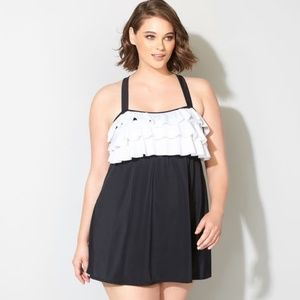 Avenue Black White Ruffle Colorblock Swimdress